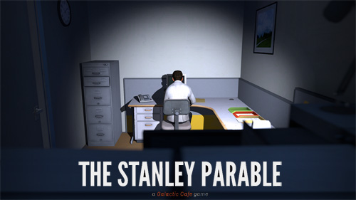 Abb: Stanley folgt den Anweisungen des Computers - bis keine mehr kommen (Collage Offizieller Screenshot/Schriftzug)