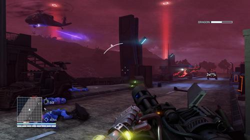 Während sich auf den neongrellen Schlachtfeldern gefrässige Laserechsen durch Cyborgs futtern, steht man gelegentlich staunend und fassungslos daneben. (Abb. eigener Screenshot)