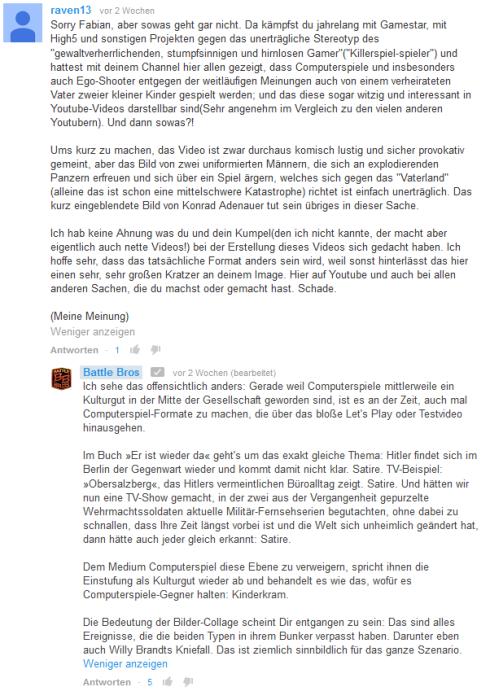 Abb.: Siegismund (BattleBros.) verteidigte, dass Videospiele ein Kulturgut sein wie jedes andere und ein Recht auf Satire bestehe (Abb. eigener Screenshot der Kommentare bei Youtube)