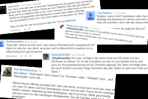 Abb.: Die Diskussion zu dem angekündigten Kanal auf Youtube verlief bemerkenswert reif und differenziert. (Abb.: eigene Screenshot-Collage ausgewählter Kommentare bei Youtube)