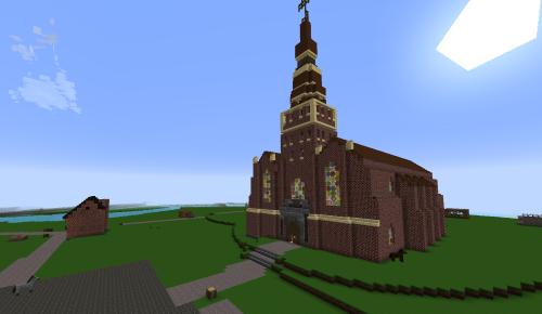 Abb.: Einige Teilnehmer des ersten Workshops leisteten fleißig Teamarbeit, um die Nikolai-Kirche zu errichten. Linkerhand eine von mir in einer Ruhepause eingefügte Schmiede. (Abb. eigener Screenshot)