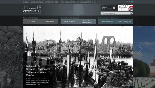 Das Webprojekt Centenaire von staatlichen französischen Institutionen und Ministerien fasst zwar auch historische Dokumente und Erläuterungen, dient aber ebenso zur Vorbereitung der Feierlichkeiten zum Gedenken an den Ausbruch des Ersten Weltkriegs. Das kann gelegentlich zu Widersprüchen führen. (Abb. eigener Screenshot)