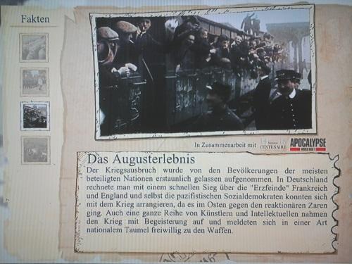 """Das """"Augusterlebnis"""" ist keineswegs mehr eine unstrittige Position in der Forschung, leider aber erweckt das Spiel in der Sektion """"Historische Fakten"""" eben diesen Eindruck. Man beachte auch den Begriff der Fakten für die historischen Informationen. (Abb. eigener Screenshot)"""