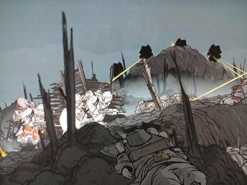 Der Weg hinauf führt an deutschen Maschinengewehren vorbei und die meisten Soldaten damit in den Tod. Valiant Hearts beschönigt nichts von dem Grauen, erlaubt es durch seinen Grafikstil überhaupt erst hinzusehen. (Abb.: eigener Screenshot PS3)