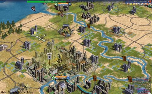 Hamburg hat ein Problem. Die Moderne in Civilization IV hinterlässt stinkende Städte und kränkelnde Menschen. Deren Laune bessert nicht unbedingt, dass ich am anderen Ende der Welt Krieg gegen England führe. (Abb.: Ausschnitt Screenshot)