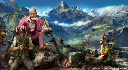 Der Entwickler Ubisoft Montreal hat ein Händchen für ebenso grausame, wie vielschichtige Gegenspieler. In Far Cry 4 handelt es sich um Pagan Min, den Herrscher von Kyrat und seine Schergen. (Abb.: Artwork Ubisoft Montreal)