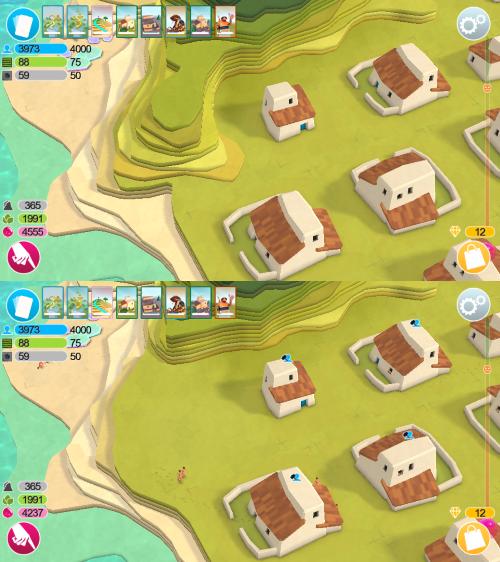 Mit dem Finger wischt der Spieler Stück für Stück die Landschaft in die Ebene, um Platz für Wohnraum zu schaffen. (Abb. eigene Screenshots)