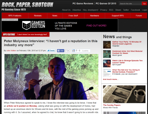 Warum das Interview von Rock Paper Shotgun mit Peter Molyneux emotional so explosiv geriet, klärt nur ein tiefer Blick in die Branche. (Abb.: eigener Screenshot, Webseite RPS)