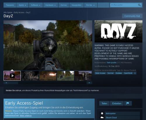 DayZ ist zwar als Teil des Early Access-Programmes von Steam ausgewiesen, aber rechtfertigt der Zustand dann das Preisniveau eines Vollpreistitels? (Abb. eigener Screenshot)