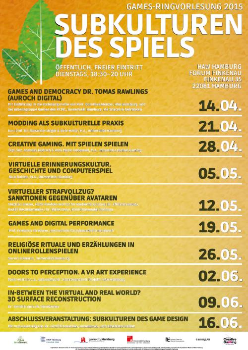 Vom 14.4. bis 16.6. präsentieren Vorträge und Diskussionsrunden viele Facetten von Subkulturen bei Videospielen (Abb. Plakat, RV-Games)