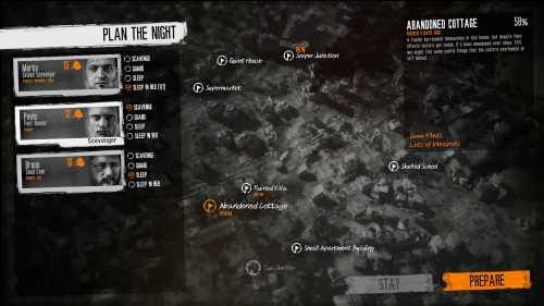 Bricht die Nacht herein, ändert sich das Gameplay und einer der Überlebenden muss auf Plündertour gehen - mit allen Gefahren und moralischen Fallstricken. (Abb. eigener Screenshot)