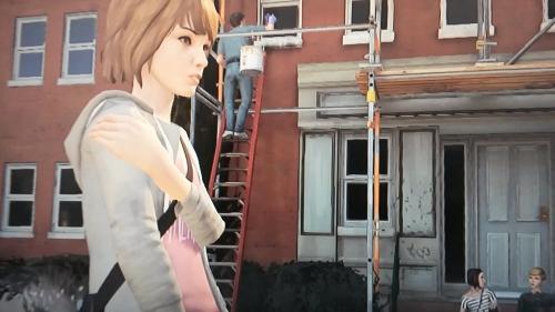 Nicht nur der Eingang des Wohnheims ist eine Baustelle, sondern auch die Psyche der unsicheren Max. Und dann noch eine Superkraft. (Abb.: eigener Screenshot PS3)