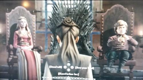 Beugen, schweigen oder das Kinn in die Luft recken - manche Entscheidungen können den Kopf koten. Zwar erlebte man bei Telltales' Game of Thrones eine parallele Geschichte zu den Büchern und der Serie, diese reizvolle Idee jedoch konterkarierte, dass die Entscheidungen kaum Folgen hatten.  (Abb. eigener Screenshot / PS3)