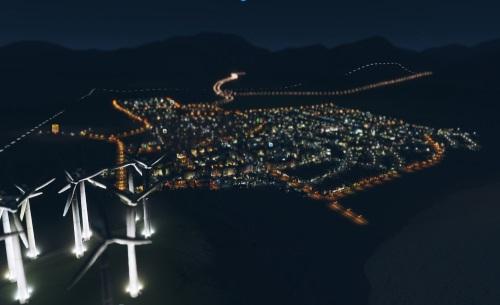 Cities Skylines bietet nicht nur hübsche nächtliche Lichteffekte. Der Gegenentwurf zu SimCity offenbart riesige Areale, deren Proportionen stimmen, einen glaubwürdigen Waren- und Straßenverkehr, ein mächtiges Modding-Tool und eine saubere Simulation der Einwohner. (Abb. eigener Screenshot)