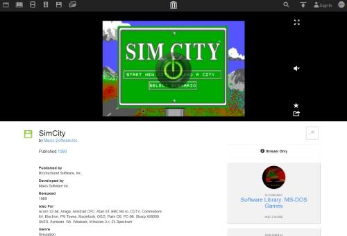 Das Internet Archive hat sich vorgenommen, digitale Spiele zu überliefern und bietet bereits SimCity von 1989 spielbar an. (Abb.: eigener Screenshot)