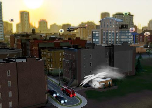 Die Sims haben eine Vielzahl verschiedener Bedürfnisse, welche die Sprechblasen im Hintergrund zeigen. Erfüllt ein Bürgermeister diese nicht, wandern die Einwohner im schlimmsten Fall ab. Es ist fraglich, dass in einem solchen Fall noch genug Steuereinnahmen fließen, so dass Feuerwehr und Polizei auch beim nächsten Brand noch ausrücken. (Abb. eigener Screenshot vom PC).