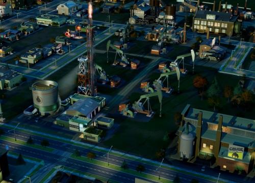 Über den Türmen des kleinen Städtchens fackelt die Raffinerie das Gas ab, das die Erdölpumpen mit aus dem Boden ziehen. Noch ist das Rohöl nur ein Exportgut, wächst die Stadt aber kann (und sollte) es auch vor Ort verarbeitet werden. (Abb.: eigener Screenshot von PC)