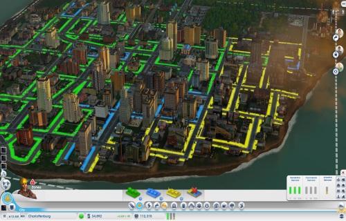 Häuser werden in SimCity nicht von Hand errichtet. Mithilfe der richtigen städtischen Infrastruktur und ausgewiesenen Typen von Baugebieten strömen die Sims von allein in die Stadt. (Abb. eigener Screenshot von PC).