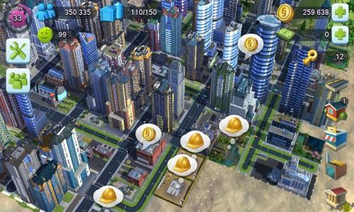 Grafisch dem Original sehr ähnlich, ist die Spielmechanik doch bei SimCity: Build It! deutlich abgespeckt. Dennoch handelt es sich um eine gelungene Adaption für den Mobilen Sektor (Abb.: Screenshot von Samsung Galaxy S4 mini)