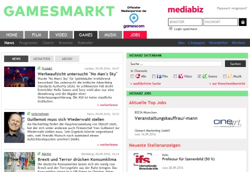 Abb. Aufgeräumt, aber auch etwas dröge präsentiert sich GamesMarkt im Netz, ist jedoch eine zentrale Informationsquelle über die Branche und ihre Daten. Zudem verknüpft das Portal mit Musik und Film mehrere Branchen. (Abb. eigener Screenshot)