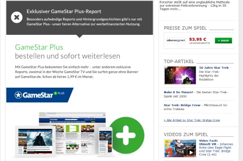 Wie zur Zeit bei vielen anderen Webpräsenzen von Printmagazinen wanderten mit dem Service Gamestar Plus einige Online-Inhalte hinter eine Paywall. (Abb. eigener Screenshot)