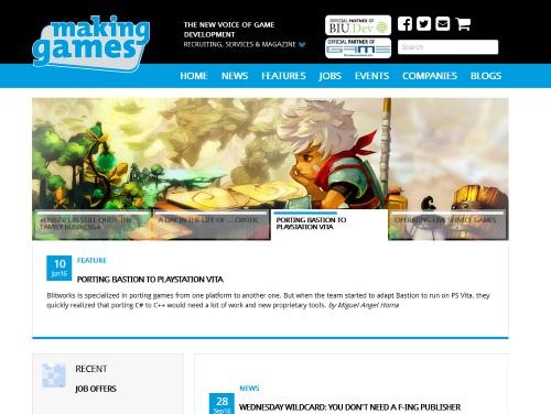 Abb.: Die Webseite von Making Games ist der wesentlichste Knotenpunkt zwischen Branchenakteuren, dem Arbeitsmarkt, Trends und Technologien sowie der Spielekultur. (Abb. eigener Screenshot)