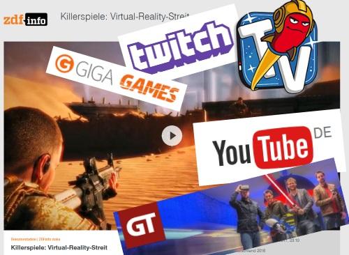 """Ob nun GameTube, Giga Games oder RocketBeansTV, Videoportale wie Youtube oder Webstreams bei Twitch oder aufwändige Reportagen wie der """"Killerspiele""""-Dreiteiler von Christian Schiffer - Bewegtbildformat sind eindeutig auf dem Vormarsch. (Abb. eigene Collage aus Screenshots)"""