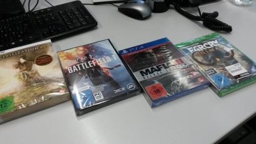 Unter den ersehnten Neuerwerbungen im Oktober 2016 für das GameLab der Public History Hamburg befand sich neben Civilization VI, Mafia 3 und Far Cry Primal auch Battlefield 1 (Abb. eigenes Foto)