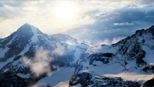 Über den italienischen Alpen eskaliert eine Trainingsmission in ein heißes Gefecht. Die Lichtstimmung durch die Sonne und Partikeleffekte wie Schneefahnen an den Berggraten erzeugen ein luftiges Gefühl von Wind und Unterkühlung. (Abb. eigener Screenshot, PC)