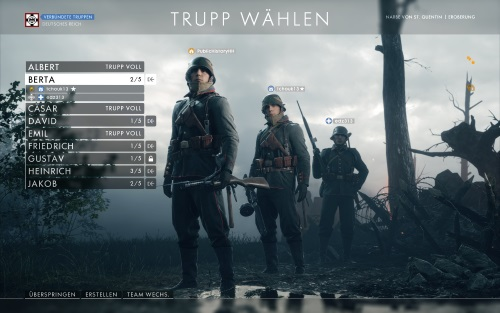In der Battlefield-Reihe war Team-Play schon immer ein wichtiger Faktor, der von den Spielenden je nach Server mal stärker, mal schlechter ausgelebt wird. In diesem zufällig zusammengewürfelten, deutschen Trupp auf der Narbe von St. Quentin klappte die Zusammenarbeit eher mäßig. (Abb. eigener Screenshot, PC)