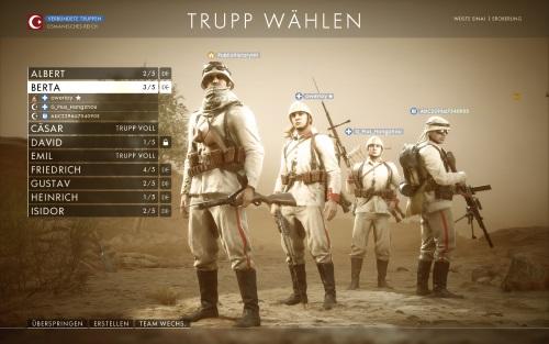 """Deutlich besser gelang die Abstimmung in diesem Squad auf osmanischer Seite in einer Conquest-Schlacht auf der Karte """"Wüste Sinai"""". Dies lag neben dem gemeinsamen taktischen Vorgehen auch an den zwei rollensicheren Sanitätern (Abb. eigener Screenshot, PC)."""
