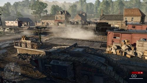 Die Kampagne ist reich an spannenden Schlüsselmomenten. Als die britische Panzermannschaft in Richtung Cambrai vorstößt, setzt sie schweres feindliches Feuer in einem Bahnhof fest.  (Abb. eigener Screenshot, PC)