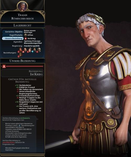 Übersichtlich schlüsselt Civilization VI auf, weshalb Kaiser Trajan uns eigentlich sehr wohlgesonnen sein müsste. Dass wir im Krieg liegen, verursachte ein hastiger Klick von mir: ich habe ihn bei anderen unabsichtlich denunziert. Die Verhandlungsmöglichkeiten sind insgesamt sehr begrenzt. (Abb. Collage, eigener Screentshot, PC)