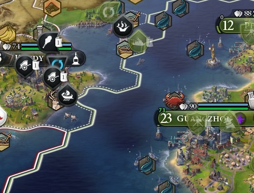 Während meine Chinesen bereits mit Raketenkreuzern patrouillieren, drücken sich auf der anderen Seite der Meerenge noch Triremen und Streitwagen herum. (Abb. Ausschnitt, eigener Screenshot, PC)