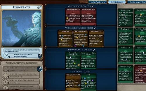 Mit zunehmendem Spielverlauf spülen soziale Errungenschaften immer neue Karten in einen Fundus, mit dem die Spieler die Richtlinien ihrer Regierungsform kombinieren. (Abb.: Ausschnitt, eigener Screenshot, PC)