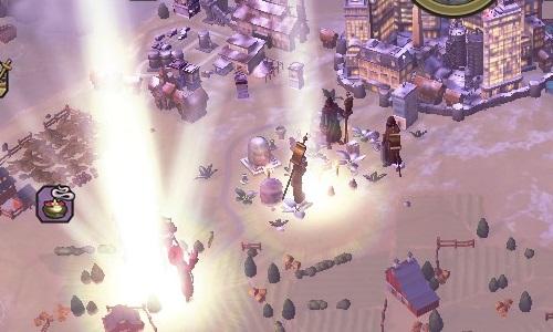 Vor den Toren meiner Stadt versuchen fremde Prediger das Wort ihrer Götter zu verbreiten, doch die göttliche Erleuchtung meiner Inquisitoren überstrahlt sie. (Abb. Ausschnitt, Screenshot, PC)