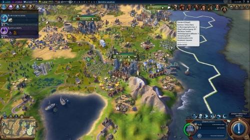 SSo viel mehr als nur Kriegführung: Civilization VI bietet Wirtschaft und Handel, Wissenschaft und Religion, arrangiert um eine blühende Stadtkultur. (Abb. eigener Screenshot, PC)
