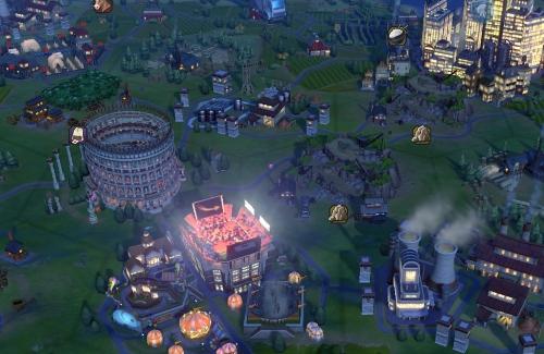 Das leuchtende Korinth im Hintergrund profitiert wie andere Städte in der Nähe von dem Kraftwerk, dem Unterhaltungsbezirk mit Stadion und dem Colosseum nebenan. (Abb. Ausschnitt, eigener Screenshot, PC)