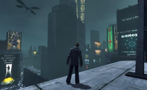 Vom dunklen Schmutz verseuchte Kreaturen kreisen bedrohlich um die Wolkenkratzer von Tokyo, zahlreiche Gegner tummeln sich auf dem Boden. Den wenigen Überlebenden, die sich verschanzen konnten, hilft man gern gegen die dunkle Brut. Dafür entlohnen fesselnde, denkwürdige Geschichten um den Sturz der Stadt ins Chaos. (Abb. Ausschnitt, eigener Screenshot, PC)